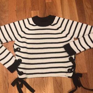 Top Shop Navy Striped Crop Sweater w/ribbon tie